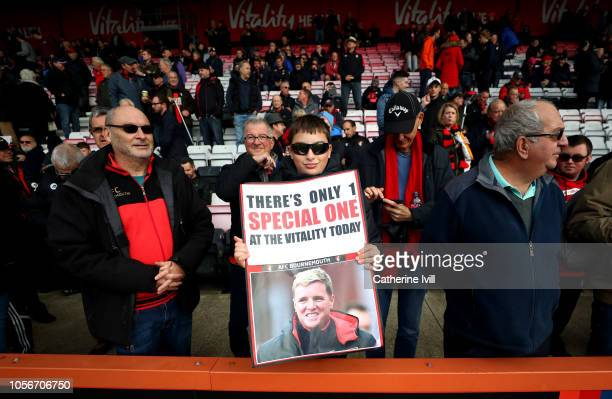 Fans show their support to Eddie Howe Manager of AFC Bournemouth during the Premier League match between AFC Bournemouth and Manchester United at...