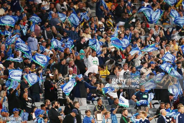 Fans showing support during the round 6 Super Rugby Aotearoa match between the Blues and the Hurricanes at Eden Park, on April 03 in Auckland, New...