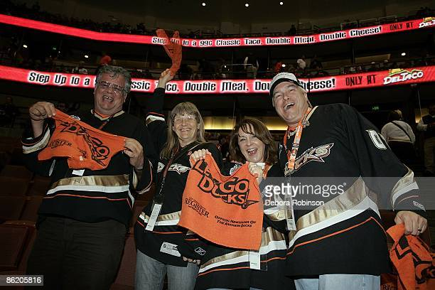 Fans showing support for the Anaheim Ducks game against the San Jose Sharks during Game Four of the Western Conference Quarterfinal Round of the 2009...