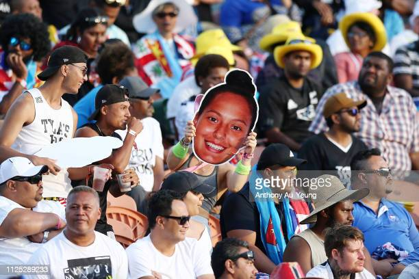 Fans showing support for Tyla Nathan-Wong of the Black Ferns Sevens during day two of the 2019 Hamilton Sevens at FMG Stadium on January 27, 2019 in...