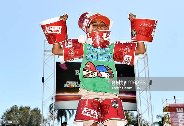 Fans showing their support during the Big Bash League match between the Perth Scorchers and the Sydney Sixers at WACA on January 28, 2017 in Perth,...