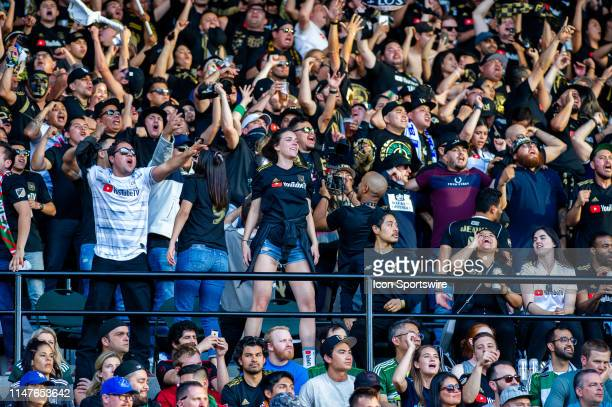FC fans showing their support during the Los Angeles FC game against the Portland Timbers on June 01 at Providence Park in Portland OR