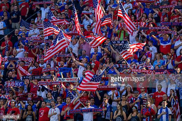 Fans sing the end of the Star Spangled Banner before the international friendly match between Bolivia and United States on May 28 2016 at Children's...
