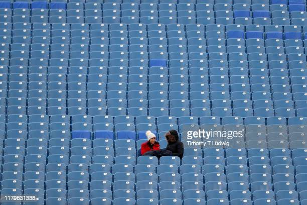 Fans sit in the stands before watching a game between the Buffalo Bills and the Washington Redskins at New Era Field on November 3 2019 in Orchard...