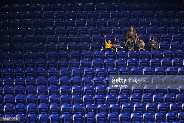 Fans sit in the stands prior to the game between the Miami Marlins and the Pittsburgh Pirates at Marlins Park on August 25 2015 in Miami Florida