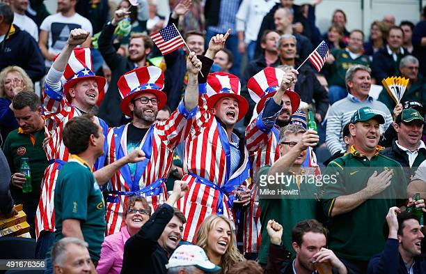 USA fans soak up the atmosphere during the 2015 Rugby World Cup Pool B match between South Africa and USA at the Olympic Stadium on October 7 2015 in...