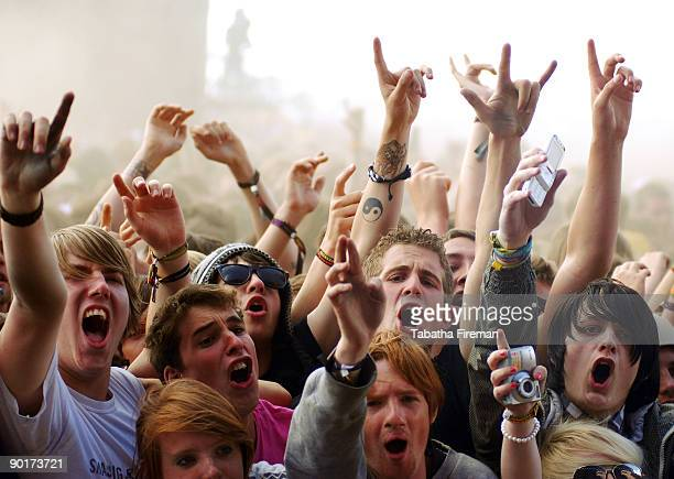 Fans soak up the atmosphere on ay two of Reading Festival on August 29, 2009 in Reading, England.