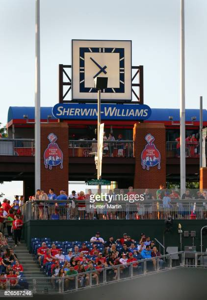 Fans stand and watch the game from Ashburn Alley during a game between the Philadelphia Phillies and the Atlanta Braves at Citizens Bank Park on July...