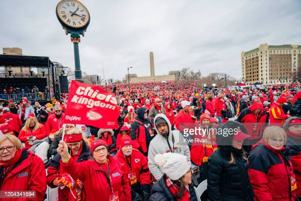 Fans stand for several hours in below freezing temperatures for the Kansas City Chiefs Victory Parade on February 5 2020 in Kansas City Missouri