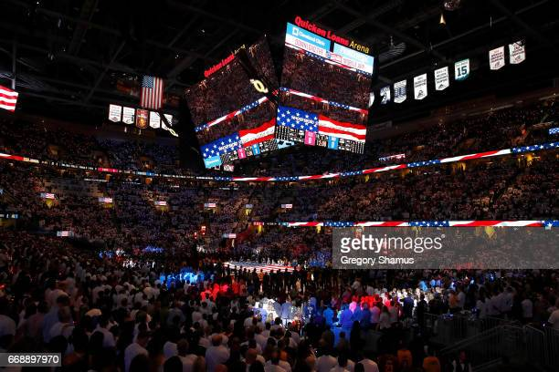 Fans stand for the National Anthem prior to Game One of the Eastern Conference Quarterfinals between the Indiana Pacers and Cleveland Cavaliers...