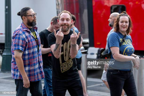 Fans stand in line to get into the the Foo Fighters show as Madison Square Garden reopens with the first full capacity concert since March 2020 on...