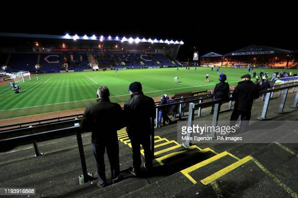 Fans start to gather in the stands ahead of the FA Cup third round replay match at Brunton Park Carlisle
