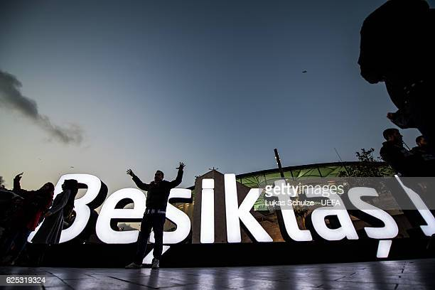 Fans stay in front of the stadium prior to the UEFA Champions League match between Besiktas JK and SL Benfica at Vodafone Arena on November 23 2016...