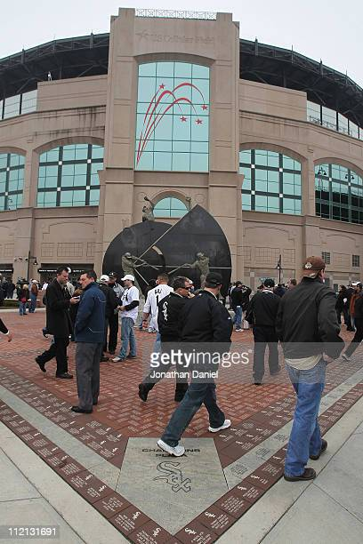 Fans stream into the ball park before the home opener between the Chicago White Sox and the Tampa Bay Rays at US Cellular Field on April 7 2011 in...