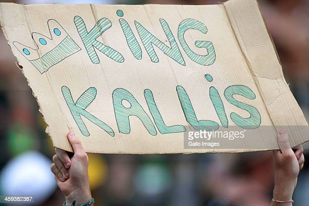 Fans support Jacques Kallis during day 1 of the 2nd Test match between South Africa and India at Sahara Stadium Kingsmead on December 26 2013 in...