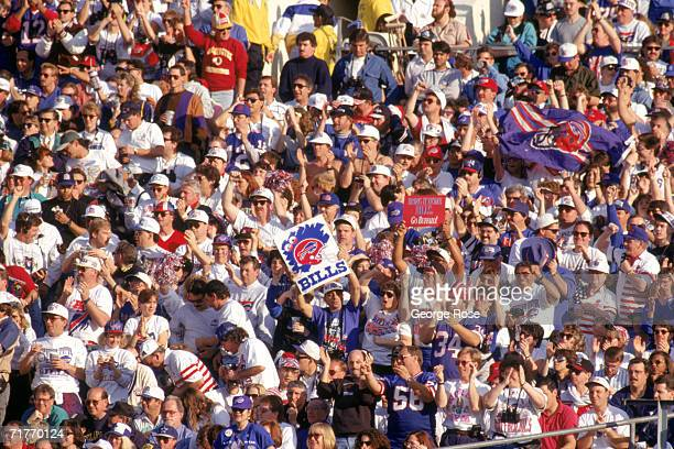 Fans support the Buffalo Bill during Super Bowl XXVII against the Dallas Cowboys at the Rose Bowl in Pasadena California on January 31 1993 The...