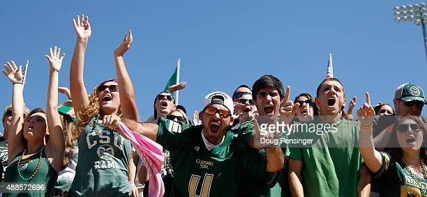 Fans support the Colorado State Rams as they host the Minnesota Golden Gophers at Sonny Lubick Field at Hughes Stadium on September 12 2015 in Fort...