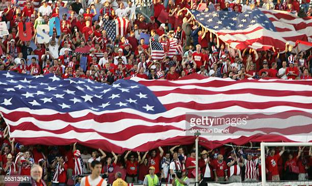 Fans support the USA during the 2006 World Cup Qualifying match against Mexico at Crew Stadium on September 3 2005 in Columbus Ohio The USA won 20