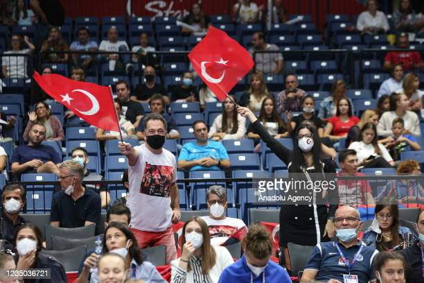 Fans support their team during the CEV Women's European Volleyball Championship semi-final match between Serbia and Turkey at Stark arena in...