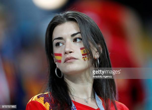 Fans support their teams during the 2018 FIFA World Cup Russia Group B match between Portugal and Spain at the Fisht Stadium in Sochi Russia on June...