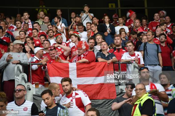 Fans support their teams during the international friendly match between Denmark and Mexico ahead of the FIFA World Cup Russia 2018 at Brondby...
