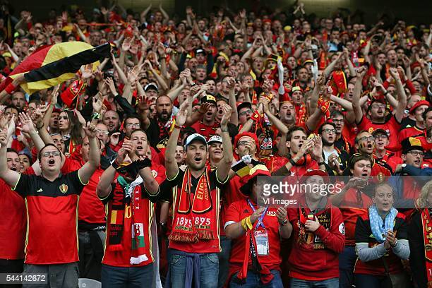 fans supporters stand belgium celebrate during the UEFA EURO 2016 quarter final match between Wales and Belgium on July 2 2016 at the Stade Pierre...