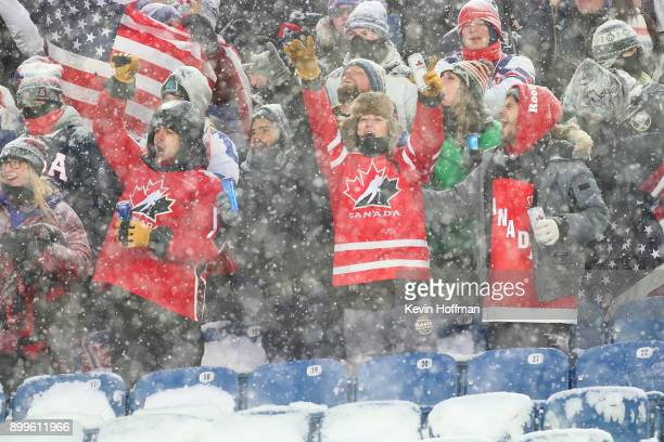 Fans supporting Canada in the second period against the United States during the IIHF World Junior Championship at New Era Field on December 29 2017...