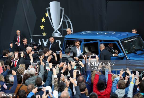 Fans surround team Europe in the city centre ahead of the Laver Cup on September 20 2017 in Prague Czech Republic The Laver Cup consists of six...