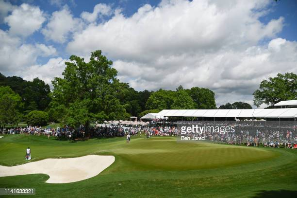 Fans surround the eighth hole during the final round of the Wells Fargo Championship at Quail Hollow Club on May 5, 2019 in Charlotte, North Carolina.