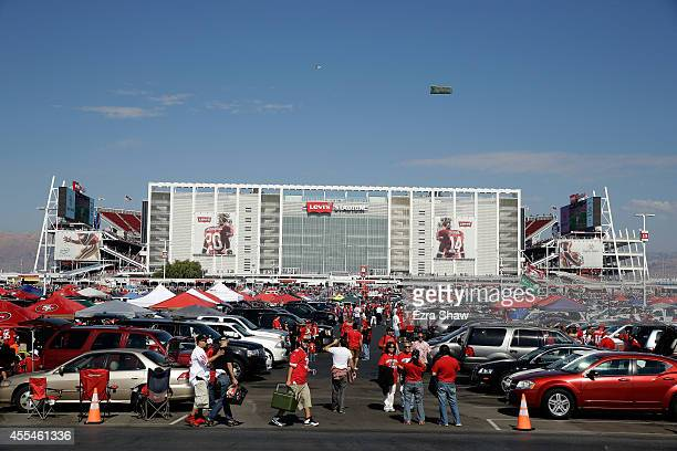 Fans tailgate before the game between the San Francisco 49ers and the Chicago Bears at Levi's Stadium on September 14 2014 in Santa Clara California