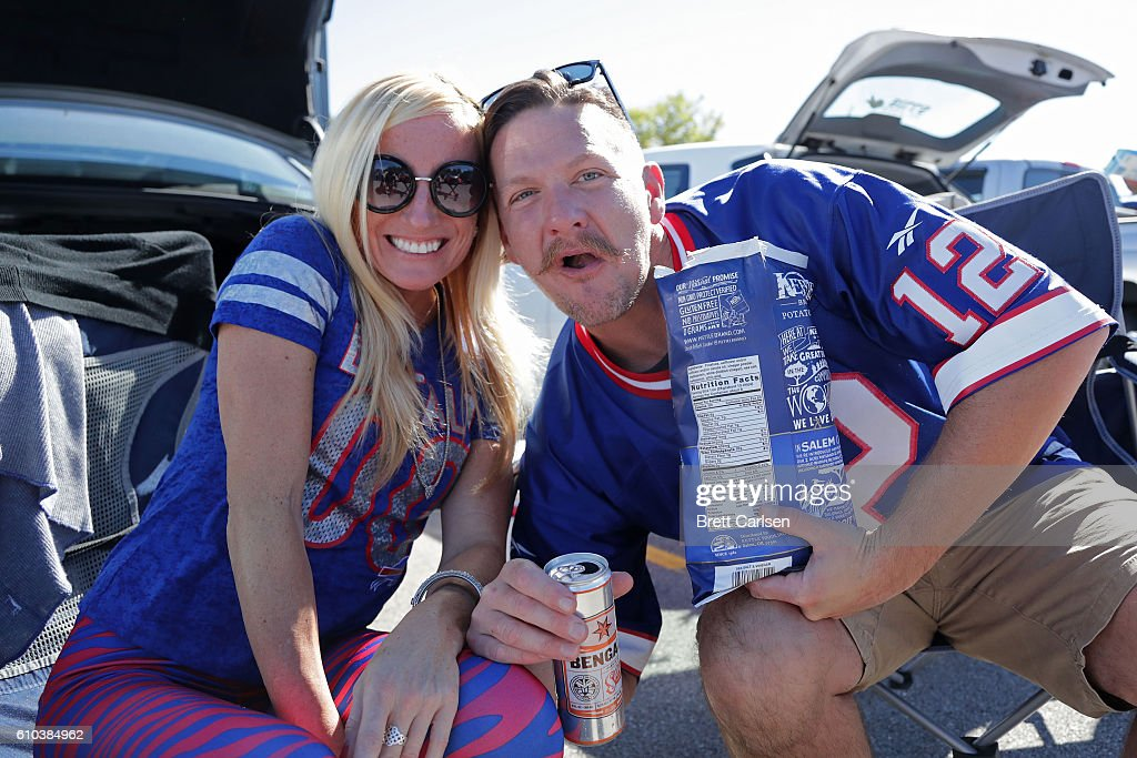 Fans tailgate in the parking lot before the game between the Buffalo Bills and the Arizona Cardinals at New Era Field on September 25, 2016 in Orchard Park, New York.