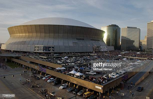 Fans tailgate out side of the Superdome before the NFC divisional playoff game between the Philadelphia Eagles and the New Orleans Saints on January...