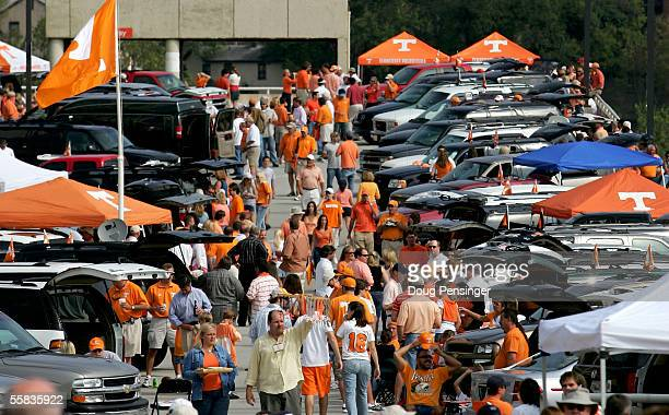 Fans tailgate out side the stadium prior to the game as the Tennessee Volunteers defeated the Mississippi Rebels 27-10 at Neyland Stadium on October...