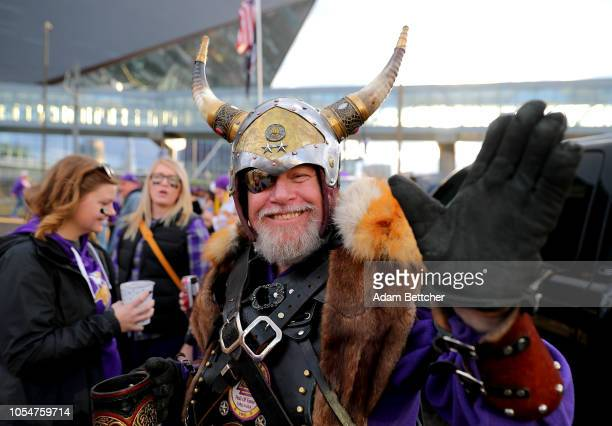 Fans tailgate outside of US Bank Stadium before the Minnesota Vikings play the New Orleans Saints on October 28 2018 in Minneapolis Minnesota