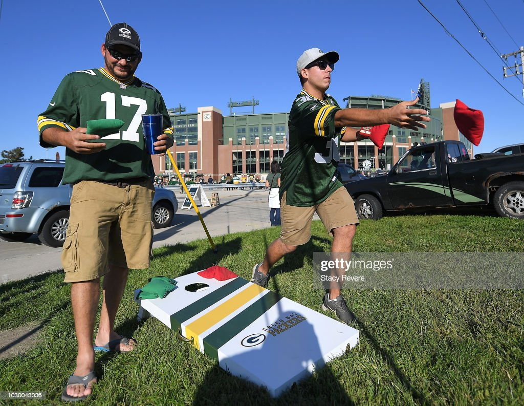 Fans tailgate prior to a game between the Green Bay Packers and the Chicago Bears at Lambeau Field on September 9, 2018 in Green Bay, Wisconsin.