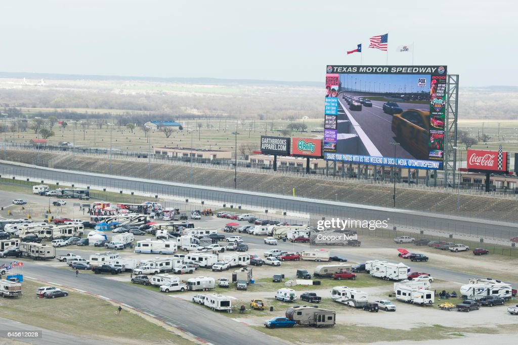 Fans tailgate to watch the Daytona 500 on the world's largest TV, Big Hoss, at Texas Motor Speedway on February 26, 2017 in Fort Worth, Texas.