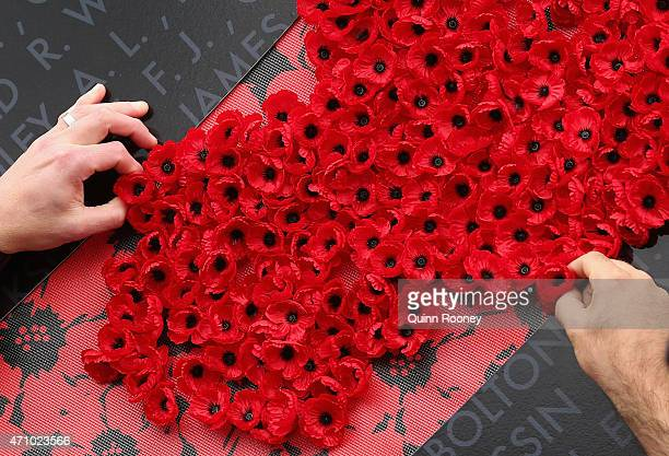 Fans take a poppy in rememberance of Anzac Day during the round four AFL match between the Essendon Bombers and the Collingwood Magpies at Melbourne...