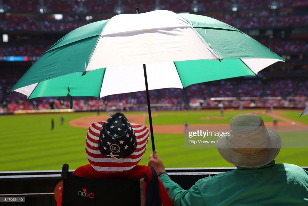 Fans take in a game between the St. Louis Cardinals and the Cincinnati Reds in the fourth inning at Busch Stadium on September 14, 2017 in St. Louis, Missouri.