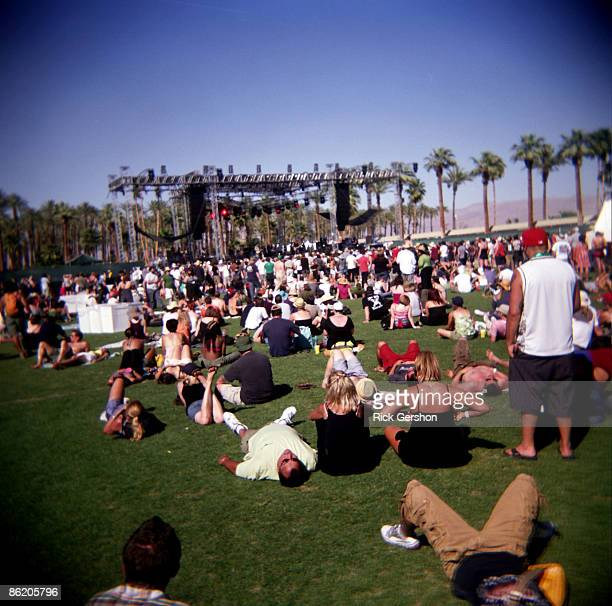 Fans take in the music at the Coachella Valley Music and Arts Festival at the Empire Polo Fields on April 18 2009 in Indio California The Coachella...