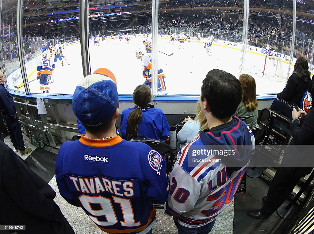 Fans take in warmups prior to the game between the New York Rangers and the New York Islanders at Madison Square Garden on April 7, 2016 in New York City.