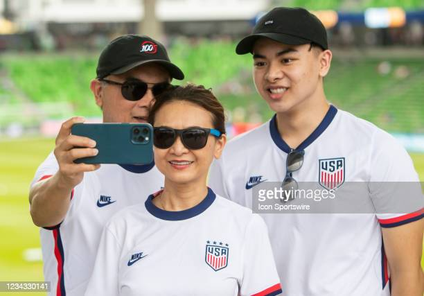 Fans take selfies in front of the pitch prior to the Gold Cup semifinal match between the United States and Qatar on Thursday July 29th, 2021 at Q2...