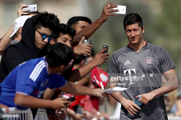 Fans take selfies with Robert Lewndowski after a training session at day 2 of the Bayern Muenchen training camp at Aspire Academy on January 4 2017...