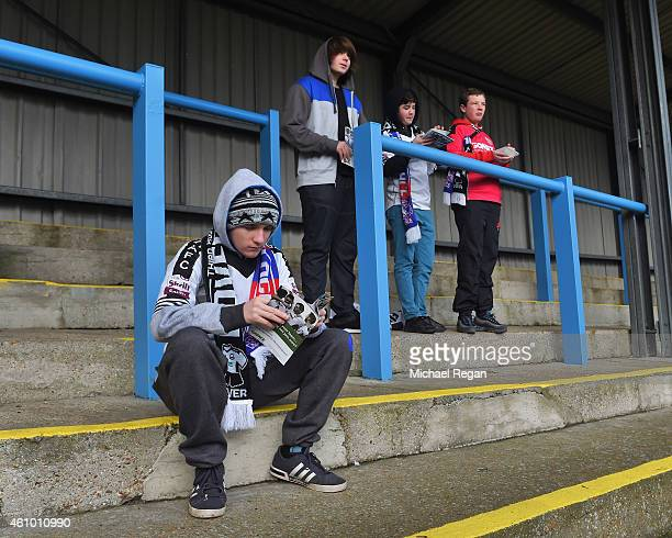 Fans take their position on the terraces prior to the FA Cup Third Round match between Dover Athletic and Crystal Palace at Crabble Athletic Ground...