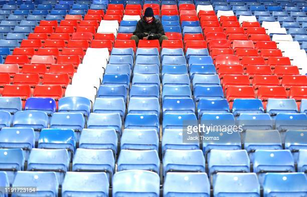 Fans take their seats inside the stadium ahead of the Premier League match between Crystal Palace and AFC Bournemouth at Selhurst Park on December 03...