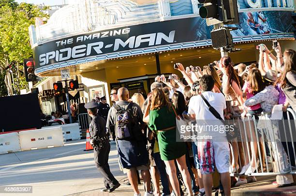 """fans taking photos at """"the amazing spider-man"""" movie premiere - westwood neighborhood los angeles stock pictures, royalty-free photos & images"""