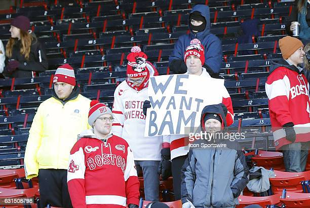 BU fans taunt Alabama's football team during a Frozen Fenway NCAA Men's Division 1 hockey game between the Boston University Terriers and the...