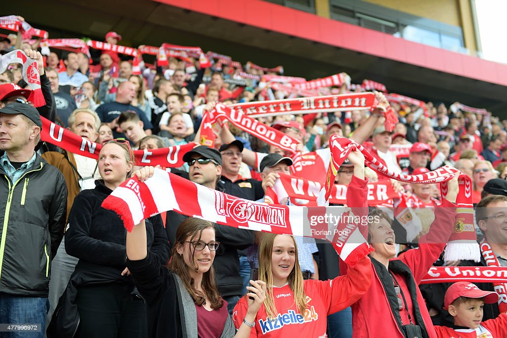 fans the 1 FC Union Berlin during the training of Union Berlin on June 21, 2015 in Berlin, Germany.