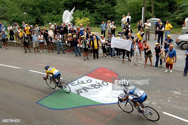 Fans' tribute to late rider Fabio Casartelli who died 10 years ago during the race during stage 15 of the 2005 Tour de France between LezatsurLeze...