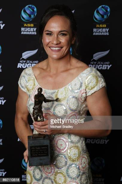 Fan's Try of the Year winner Black Ferns player Portia Woodman poses with her trophy during the ASB Rugby Awards 2018 at Sky City on December 14 2017...