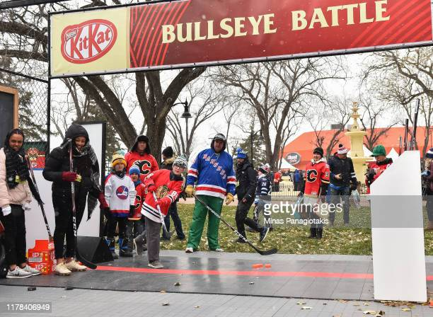 Fans try the Bullseye Battle in The PreGame in advance of the 2019 Tim Hortons NHL Heritage Classic as the Calgary Flames take on the Winnipeg Jets...